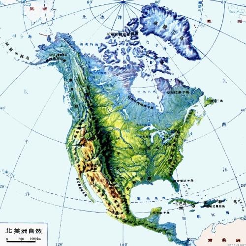 北美洲手绘地图